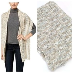 INC Cable Knit Wrap Winter Scarf Shimmer Ivory